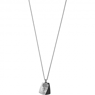 Men's Steel and Black DogTag Necklace
