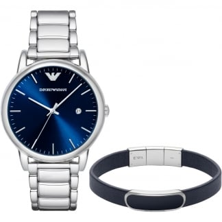 Men's Watch & Leather Bracelet Set AR8033