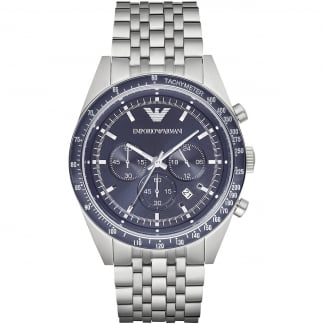Men's Steel Watch Blue Chronograph Dial
