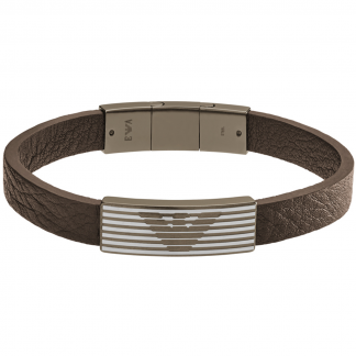 Steel and Brown Leather Bracelet