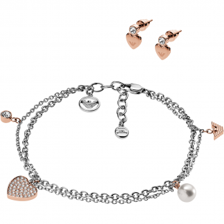 Two Tone Bracelet and Earring Giftset