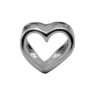 Open Heart Silver Charm E21360