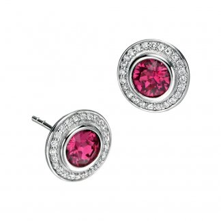 Fuschia Pink Swarovski Crystal & CZ Stud Earrings E4672