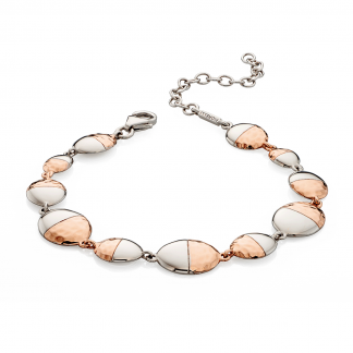 Hammered Oval Two Tone Bracelet