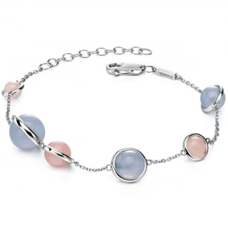 Ladies Quartz and Chalcedony  Station Bracelet B4777
