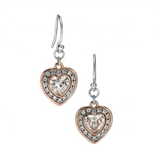 Ladies Rose and Silver Stone Set Heart Earring Drops E5069C