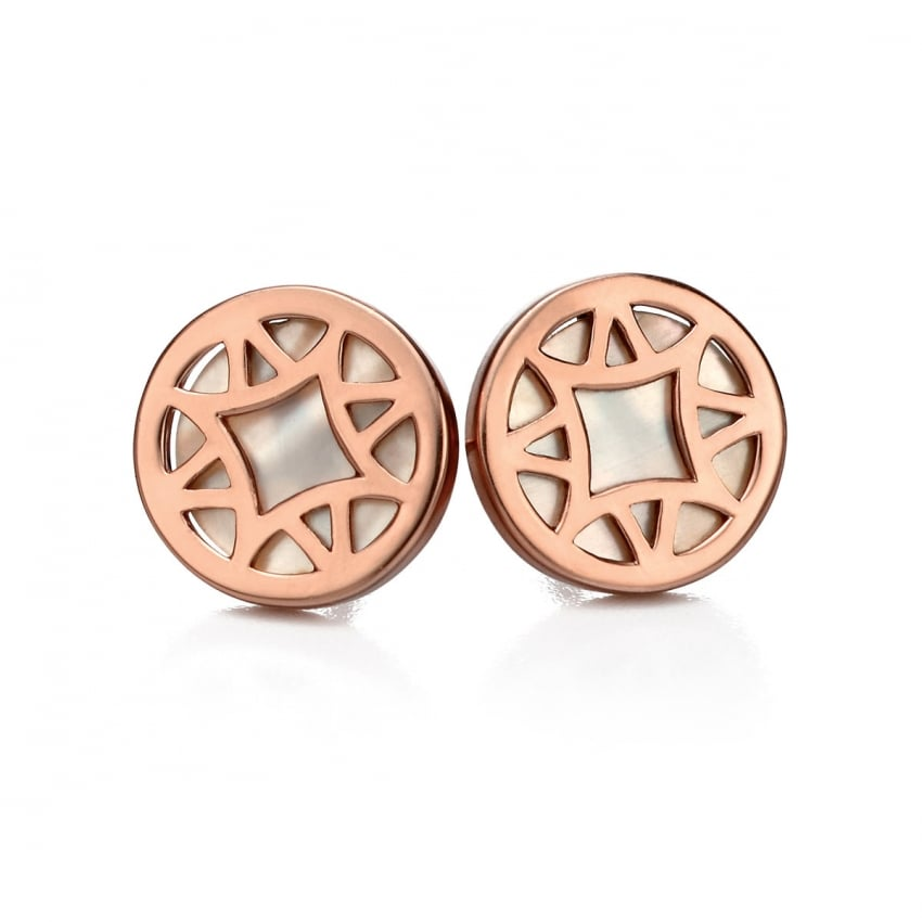 Fiorelli Ladies Rose Gold with Mother of Pearl Inlay Earring Studs E4993W