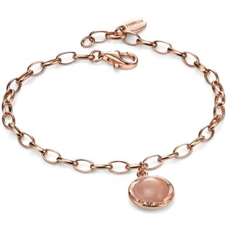 Ladies Rose Gold with Rose Quartz Charm Bracelet B4655P