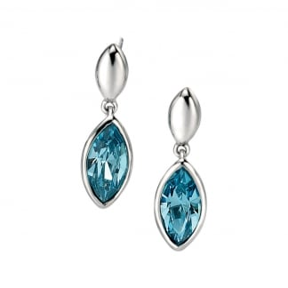Ladies Silver and Blue Swarovski Crystal Earrings E4854T