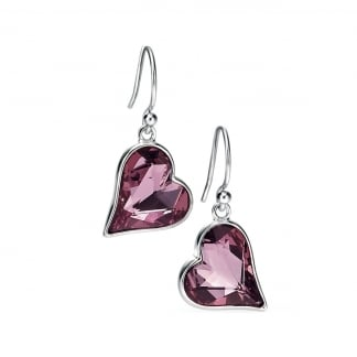 Ladies Silver and Pink Swarovski Hanging Heart Earring Drops E4862P