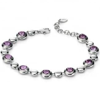 Ladies Silver and Purple Circle Link Bracelet B4541M