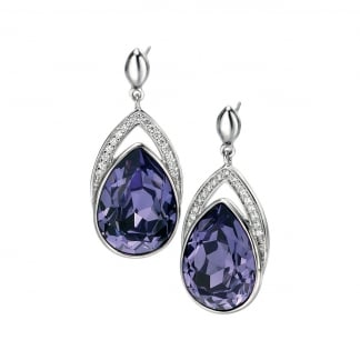 Ladies Silver and Purple Swarovski Tear Drop Earrings E4865M