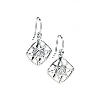 Ladies Silver Cut Out Diamond Shaped Earring Drops E4995C