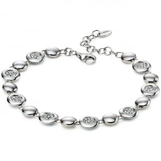 Ladies Silver Small Circle Link Bracelet B4541C