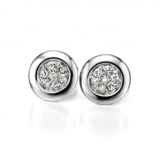 Ladies Silver Small Circle Pave Set Earrings E4868C
