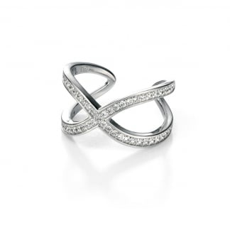 Ladies Silver Stone Set Crossover Open Back Ring