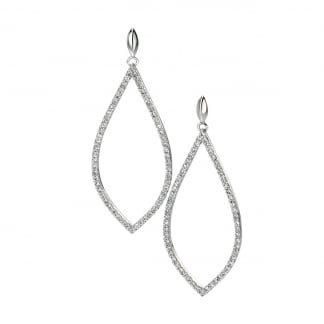 Ladies Silver Stone Set Cut Out Tear Drop Earring Drops E4860C