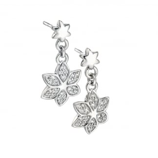 Ladies Silver Stone Set Flower Drop Earrings E4855C