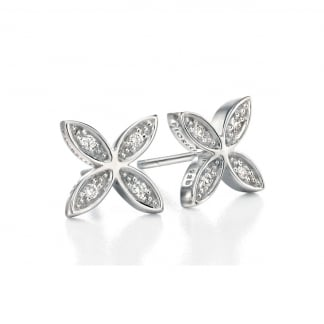 Ladies Silver Stone Set Flower Earring Studs E4857C