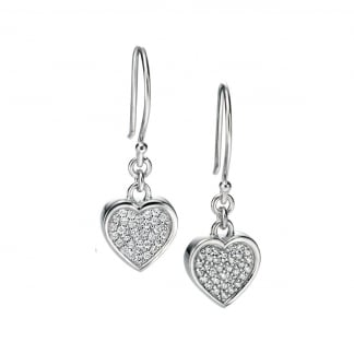 Ladies Silver Stone Set Heart Drop Earrings E4852C