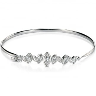 Ladies Silver Stone Set Marquise Row Open Top Bangle