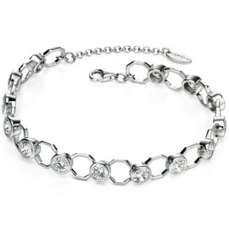 Ladies Silver Stone Set Octagonal Link Bracelet B4653C