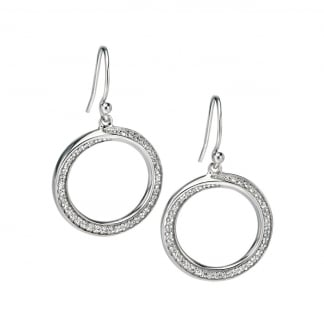 Ladies Silver Stone Set Open Circle Earrings E4859C