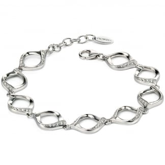 Ladies Silver Stone Set Ribbon Twist Bracelet B4720C