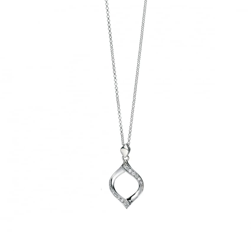 Fiorelli Ladies Silver Stone Set Ribbon Twist Pendant P4326C