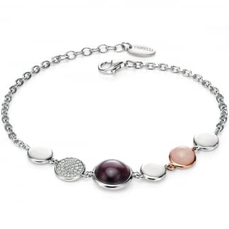 Ladies Three Stone Silver Bracelet B4654