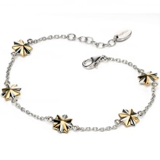 Ladies Two Tone 3D Star Station Bracelet B4718