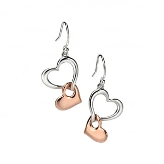 Ladies Two Tone Double Hanging Heart Earrings E4861