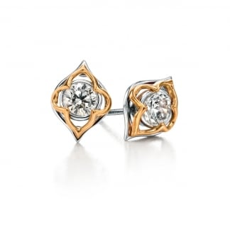 Ladies Two Tone Flower Shaped Stone Set Earring Studs E5071C