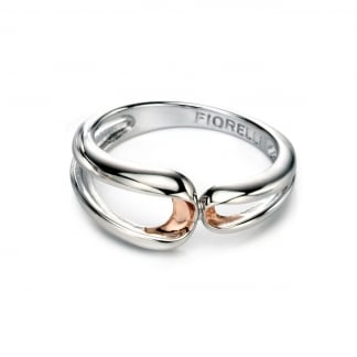 Ladies Two Tone Ribbon Effect Ring