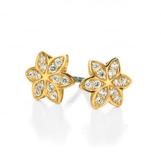 Ladies Yellow Gold Stone Set Flower Earring Studs E4856C