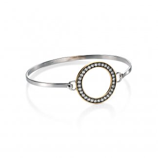 Open Bangle with Gold Plated Detail & Clear CZ B4292C