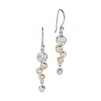 Silver & Gold Plated Stone Set Waterfall Earrings E4128C