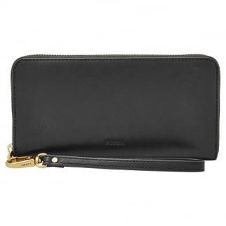 Black Emma RFID Large Zip Clutch Purse
