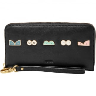 Black 'Eyes' Emma RFID Large Zip Clutch Purse