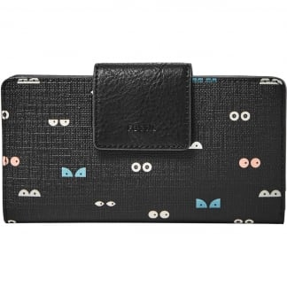 Black 'Eyes' Emma RFID Tab Clutch Purse