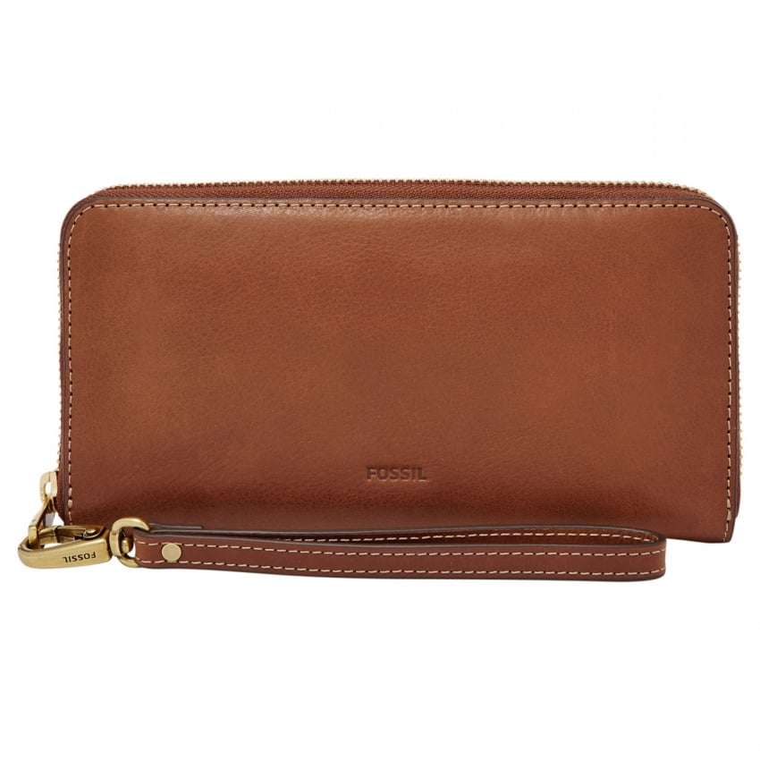 Fossil Brown Emma RFID Large Zip Clutch Purse SL7153200