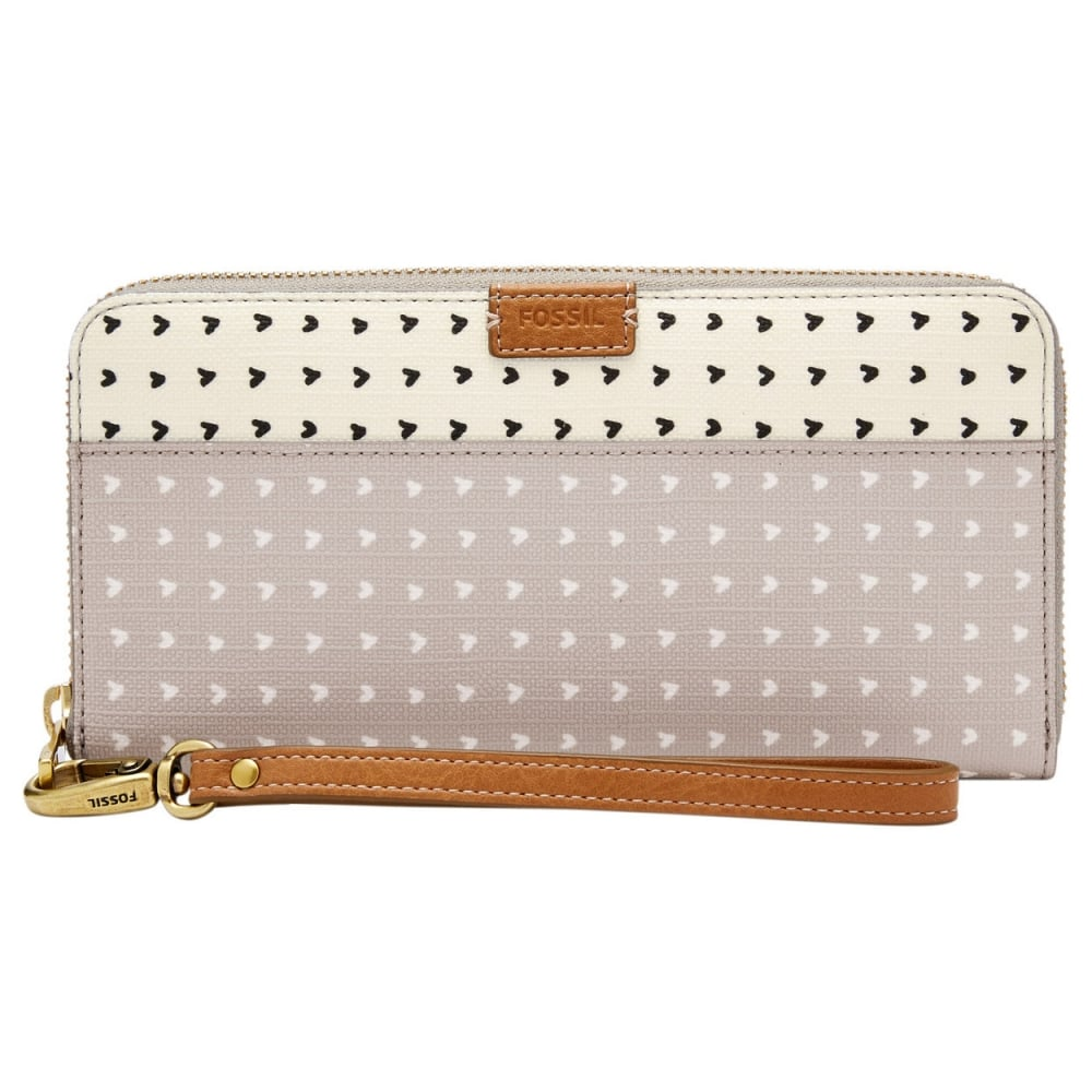 cf779f69d1ec Fossil Grey/White Emma RFID Large Zip Clutch Purse - Accessories ...