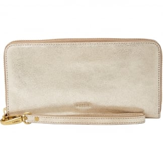 Hellgold Metallic Emma RFID Large Zip Clutch Purse