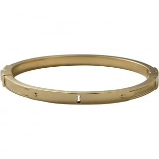 Ladies Gold Key Hole Hinged Bangle JF00092710M