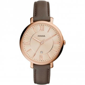 Ladies Jacqueline Grey Leather Strap Watch ES3707
