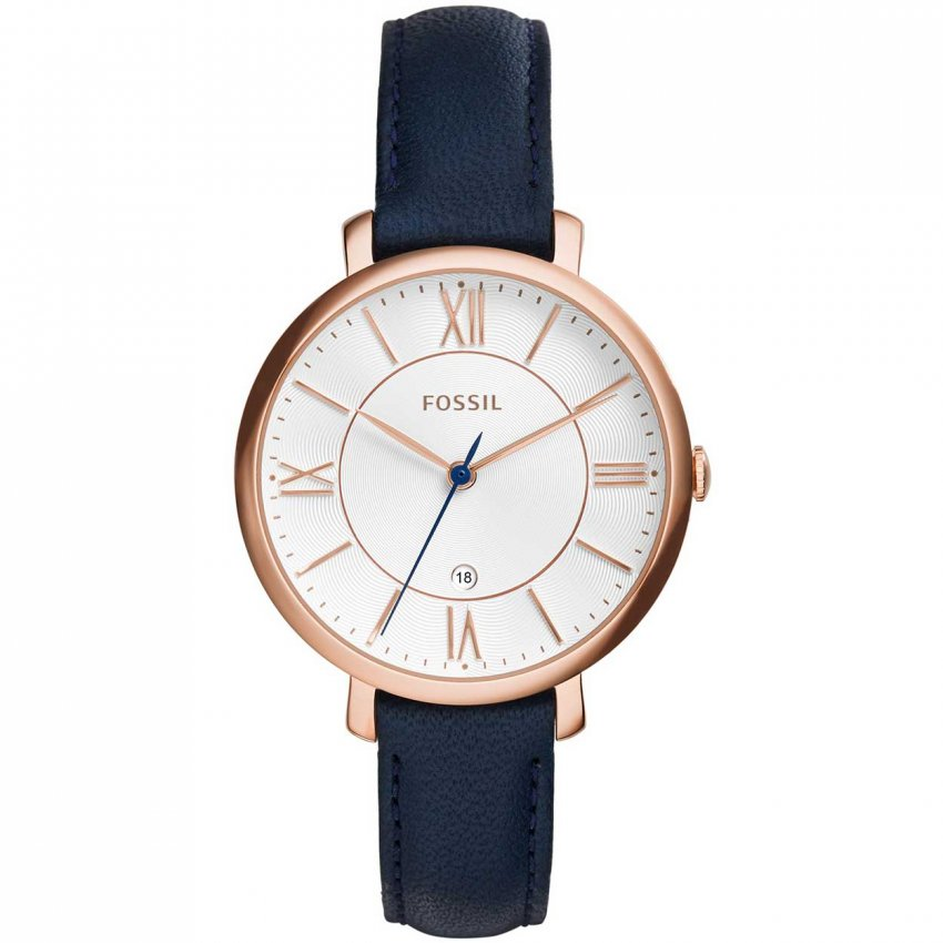 Fossil Ladies Jacqueline Navy Blue Leather Strap Watch ES3843