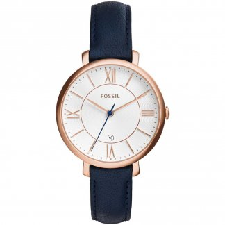 Ladies Jacqueline Navy Blue Leather Strap Watch
