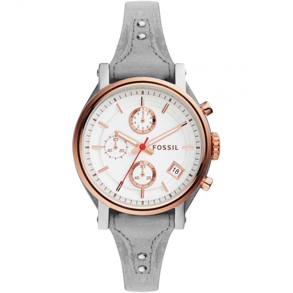 fossil original boyfriend grey leather chronograph