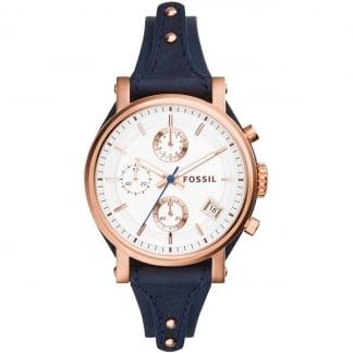 Ladies Original Boyfriend Navy Chronograph Watch ES3838