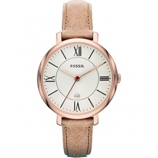 Ladies Rose Gold Brown Strap Jacqueline Watch ES3487